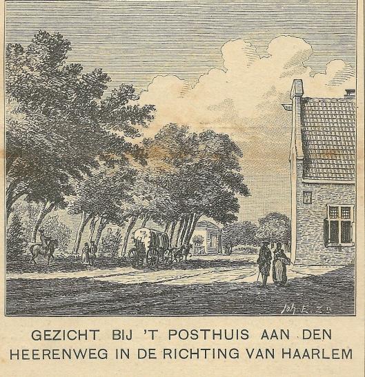 Gezicht bij 't Posthuis aan den Heerenweg in de richting van Haarlem
