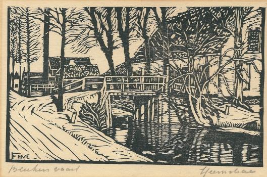 Bleekersvaartweg Heemstede op een houtgravure van F.H.van Emmerik