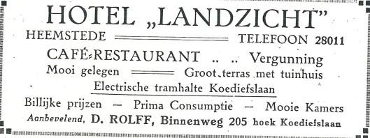 Advertentie van 'Landzicht', Binnenweg 205 Heemstede, uit omstreeks 1930