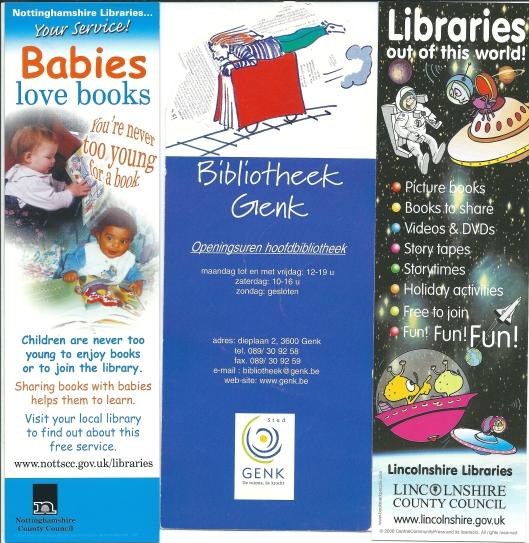 V.l.n.r.: Nottinghamshire Libraries; Bibliotheek Genk (België); Lincolnshire libraries