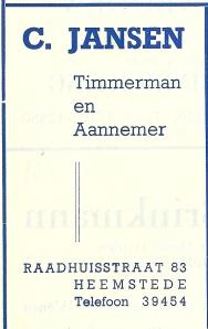 Adv. timmerman/aannemer C.Jansen uit 1953