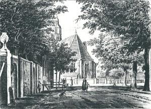 18e eeuwse tekening (door Tavenier?) van het Dorpsplein/Kerkplein (sinds 1898 Wilheminaplein) met de Hervormde Kerk en links de toegangspoort naar hofstede Valkenburg