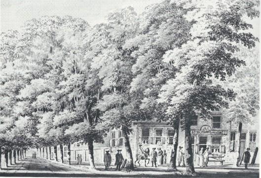 De herberg 't Fortuin, in 1772 getekend door H.Tavenier (NHA)