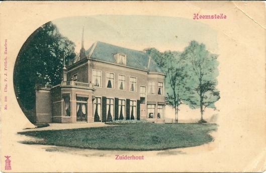 Ansichtkaart van het grote huis van Zuiderhout omstreeks 1920