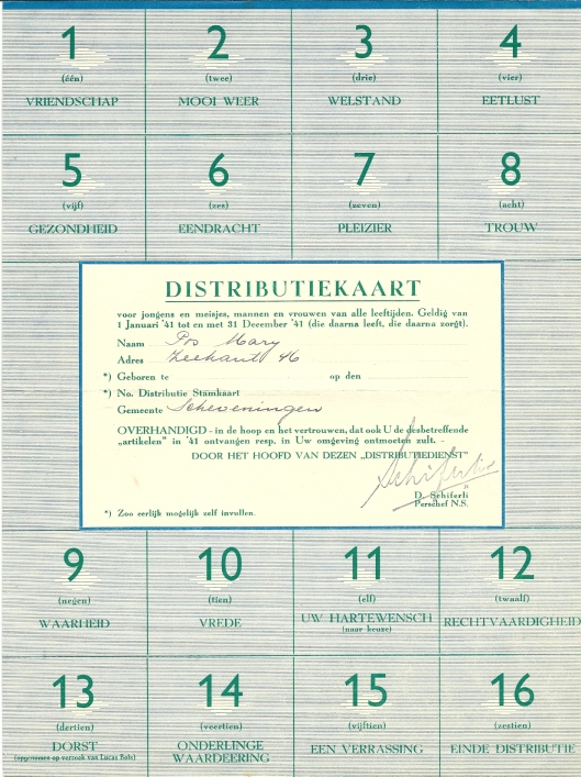 Fake-distributiekaart van (verzetsman) D.Schiferli voor Mary Pos. Het was D.J.Schiferli die voor Mary Pos opkwam na aantijgingen over de vermeende onvaderlandse houding van mary Pos in oorlogstijd