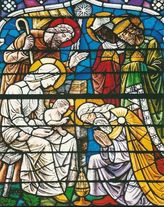 'Aanbidding door de Driekoningen'Glas-in-lood-raam in de H.Bavokerk te Heemstede, in 1949 vervaardigd door Han Bijvoet.