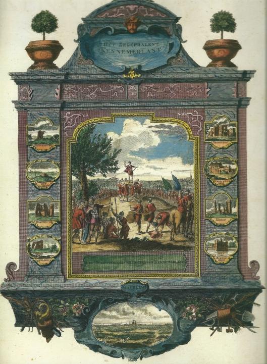 Frontispice van het platenboek 'Het zegenpralent Kennemerlant' circa 1732 verschenen met gravures van Hendrik de Leth en teksten van teksten van Brouërius van Nidek. Uitgegeven door de gebroeders Andries en Hendrik de Leth.