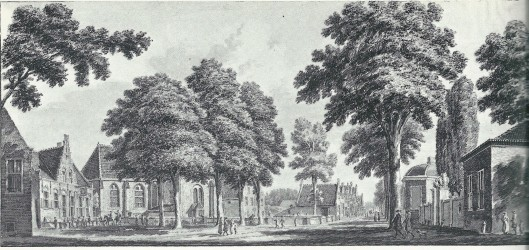 'Heemstede, koomende van Haerlem te zien' Tekening van Hendrik Spilman uit omstreeks 1750. Links de herberg/schoutenhuis 'Het Wapen van Heemstede', dan de Hervormde Kerk, de Voorweg en rechts koetshuis/toengangspoort en theekoepel van de buitenplaats Meer en Berg.