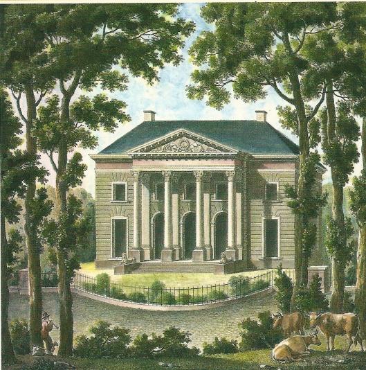 Prent van Eindenhout 'Maison de campagne prez de Harlem) door de Belg P.J.Goetghebuer uit circa 1810.