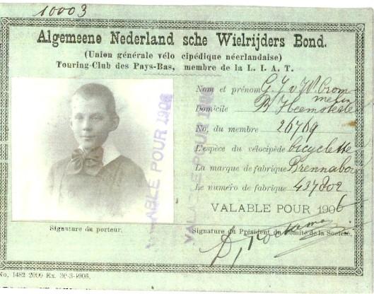 Ledenkaart ANWB 1906 van andere zoon: G.J.van Wickevoort Crommelin