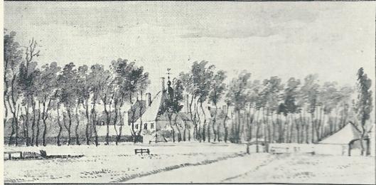 17e eeuwse tekening van Huis te Manpad door A.van de Velde
