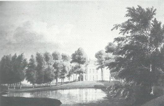 Westgevel van Huis te Vogelenzang met tuin in landschappelijke aanleg. Aquarel door Geevers van Endegeest uit 1823 (N.H.A.)