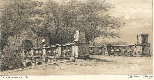 De Pons Pacis ofwel Vredesbrug. Steendruk van P.A.Schipperus uit 1878.