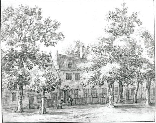 De herberg Rustenburg ('t Bokje/de Ooievaar) in de Haarlemmerhout. Tekening in Oost-Indische inkt door B.van Gaal (Noord-Hollands Archief)