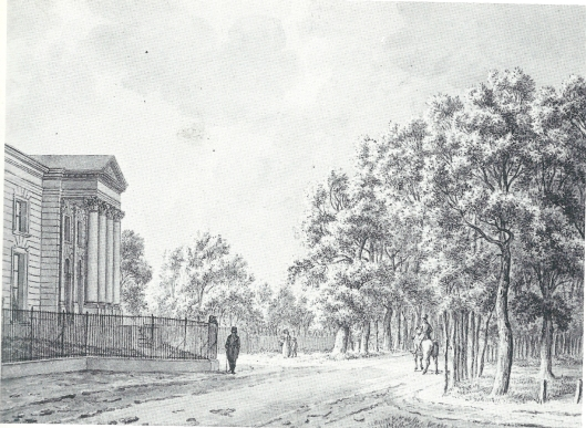 Tekening van Eindenhout uit 1896 door F.Milatz toen de beelden voor het bouwwerk nog ontbraken en vier jaar later zijn geplaatst