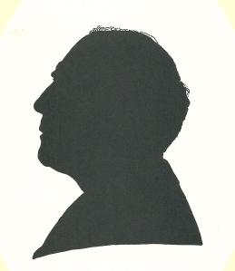 Silhouet en profil van Pieter Wetselaar, in 1995 getekend door Pieter Wetselaar.