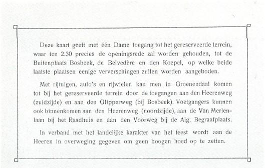 Kaart voor opening Bosbeek-Groenendaal 17 juli 1913