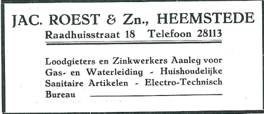 Jac.. Roest & Zn. Advertentie uit 1927