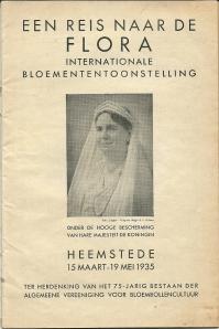 Titelblad van gids Flora 1935 waarin iedere Nederlander wordt opgewekt de bloemententoonstelling te bezoeken en praktische informatie wordt verstrekt