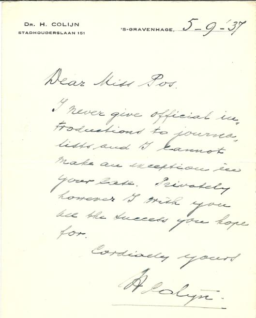 Briefje van premier dr.H.Colijn aan Mary Pos