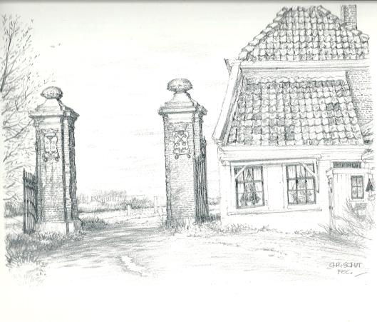 Tekening van het Leidse tolhek in Oegstgeest door Chris Schut (uit: Gezichten in de bloembollenstreek, 1987).