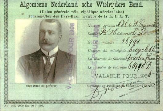 A.H.van Wickevoort Crommelin op lidmaatschapskaart ANWB uit 1906