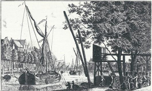 Uitzicht over het Spaarne bij brouwerij 'Het Dubbelt Anker' op een gravure van Johannes Swertner uit 1764
