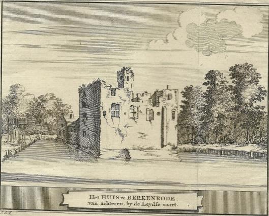De ruïne van het huis Berkenrode, gegraveerd door J.Schijnvoet naar een oude tekening van S.Roghman. 1711