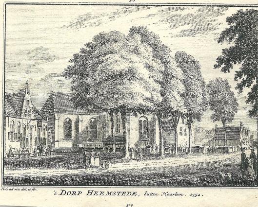't Dorp Heemstede. Gravure van Hendrik Spilman, 1752. V.l.n.r. herberg het Wapen van Heemstede, de Oude Kerk, Voorwegschool, Voorweg