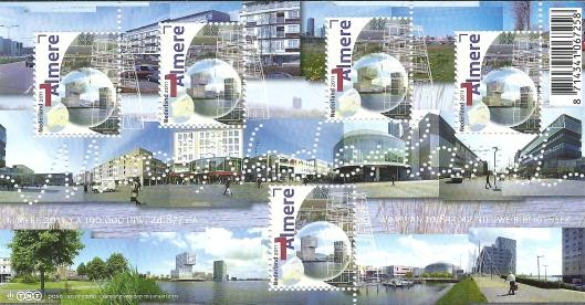 Postzegelvelletje in 2011 uitgegeven door post.nl in de serie 'Mooi Nederland' Middenrechts het nieuwe bibliotheekgebouw. Bovendien is op elke postzegel een lijntekening geprojecteerd van de bibliotheekvestiging