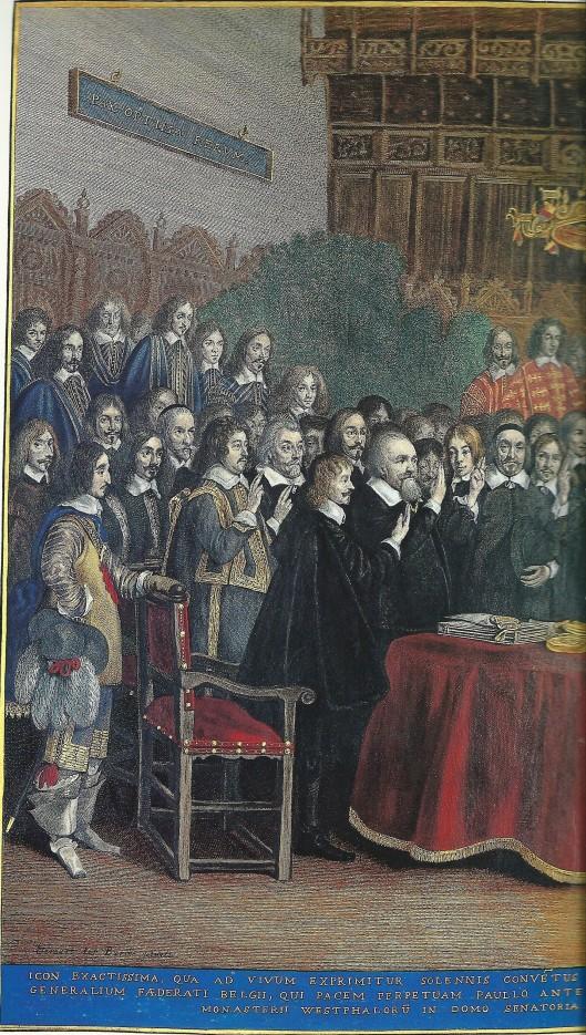 Linkerdeel van ingekeurde ets door Jonas Suyderhoef (1613-1686) naar een schilderij van Gerard ter Borch (1617-1681). Links van de tafel staan de buitengewone ambassadeurs van de Nederlandse gewesten die de eed afleggen bij de Vrede van Munster. Tweede van links naast Clant (Groningen) zien we Adriaen Pauw, genaamd Van Heemstede, als gevolmachtigde namens het belangrijkste gewest Holland.