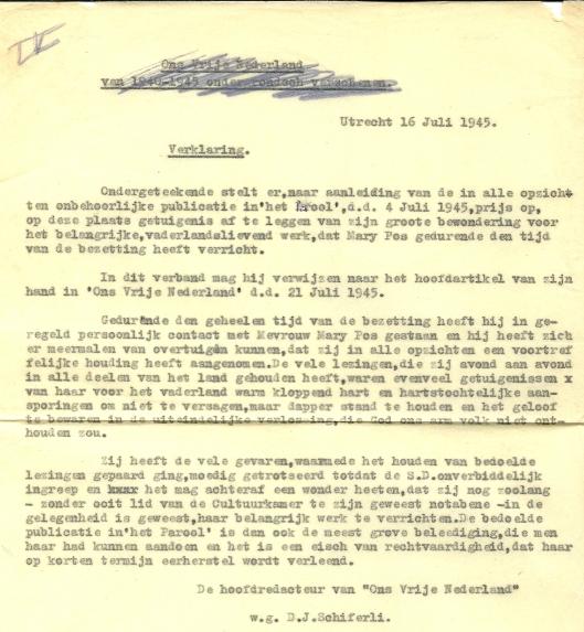 Getuigenis van D.J.Schiferli ter verdediging van Mary Pos