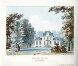 Achterzijde van hofstede het Klooster op een prent van Hermanus Numan uit 1794