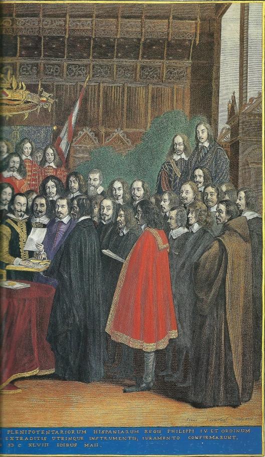 Rechterdeel van de ets van Johannes van Suyderhoef van de Vrede van Munster met o.a, de Soaanse afgevaardigden graaf de Penerande en Ainine Brun, die hun rechterhand op de bijbel leggen.