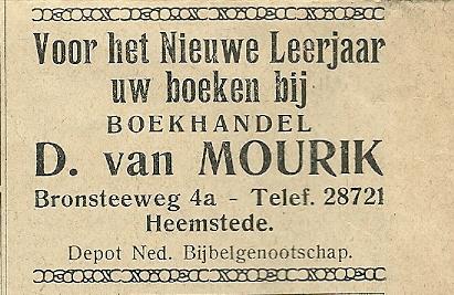 Advertentie van boekhandel D.van Mourik uit 1934