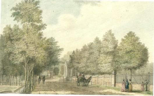 De Wagenweg/Herenweg ter hoogte van de buitenplaats Bosch en Hoven met theekoepel langs de weg. Omstreeks 1790 getekend door Hendrik Schouten