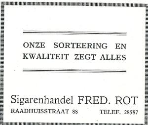 Advertentie sigarenzaak Fred. Rot uit 1928