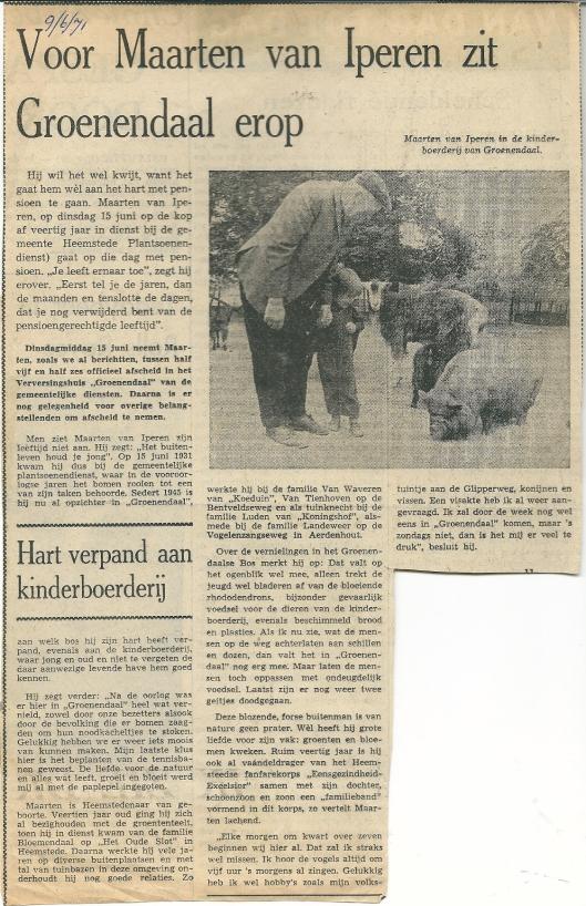 Artikel uit het Haarlems Dagblad van 9 juni 1971 over het afscheid van Maarten van Iperen