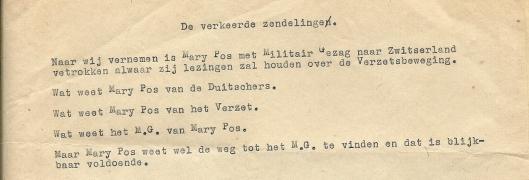 mary Pos had naast vrienden ook vijanden. Dit anonieme briefje ontving zij nadat bekend werd dat zij in Zwitserland lezingen zou geven.