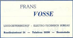 Adv. Frans Vosse Heemstede uit 1953