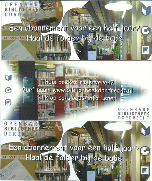 Drie bladwijzers van openbare bibliotheek Dordrecht
