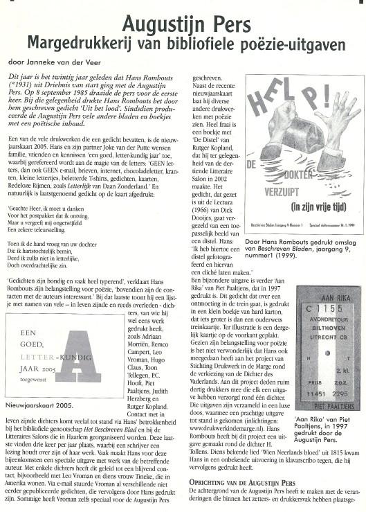 Artikel door Janneke van der Veer gewijd aan de Augustijn Pers, uit: Boekenpost 76, maart/april 2005.