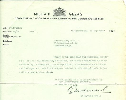 Brief van het Militair Gezag de dato 12 september 1945 met toestemming aan Mary Pos in Davos, voor Nederlanders te spreken