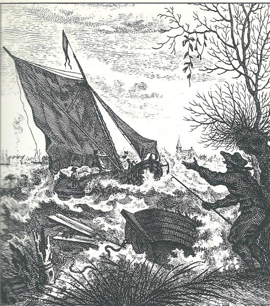 'Ongewoone Waterbeweging in het Haarlemmer Meer, bespeurt op den 1 November 1755' Gravure door T.Houttuyn (Provinciale Atlas Noord-Holland)
