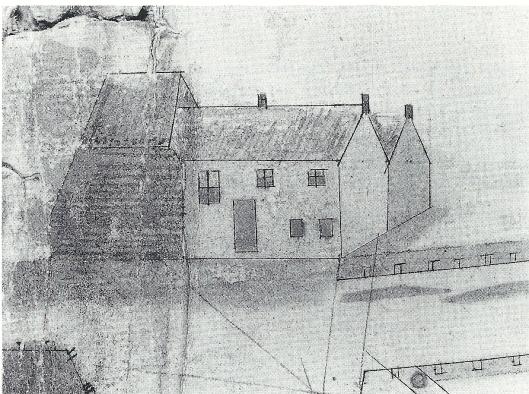 Oudste afbeelding van het 'Dronckenhuisje' uit 1695 door Anthony Velsen (N.H.Archief)