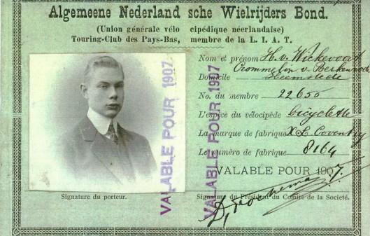 Ledenkaart ANWB van zoon Hendrik van Wickevoort Crommelin