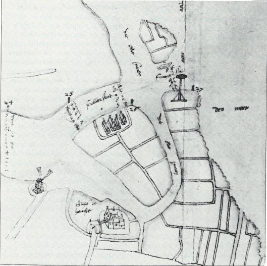 De mond van het Spaarne. Kaarttekening door Pieter Bruynszoon uit 1602. Links onderaan de korenmolen (Molenwerf). Rechts daarvan het Huis te Heemstede. De Scravesloot is het in 1440 rechtgetrokken gedeelte Spaarne. Op het eiland de Mient zijn nog enkele huizen zichtbaar. (Hoogheemraadschap Rijnland)