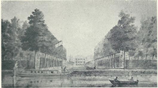 Achterzijde van Huis te Manpad vanuit de Leidsevaart met een beurtschip (trekschuit) en roeiboot op een tekening van Hendrik Keun uit 1773
