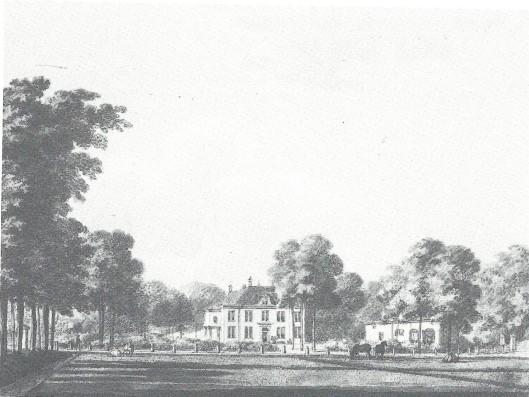 De hofstede Oosterduin. Aquarel door Herman Numan uit 1797