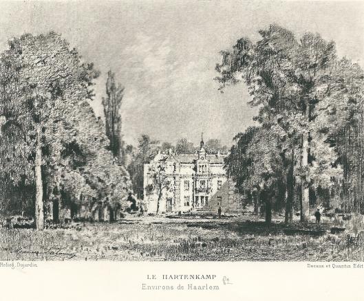 'Le Hartenkamp' Heliogravure van Maxime Lalanne, 1877-1881. , opgenomen in 'La Hollande à vol d'Oiseau' van H.Havard